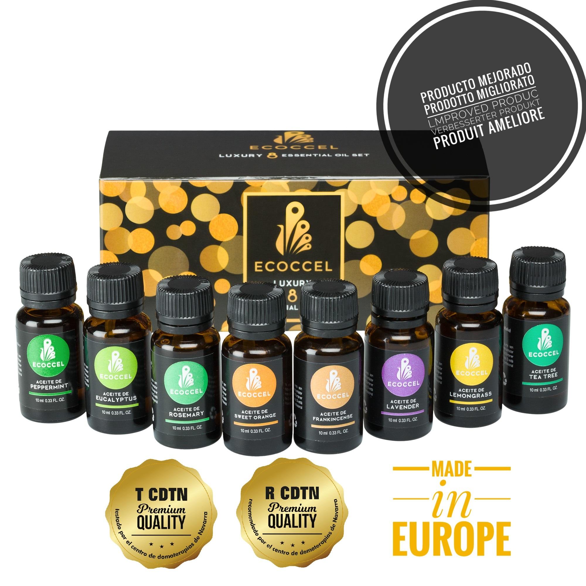 Aceites esenciales naturales, aceite esencial de lavanda, romero, puros 100%, mejores aceites esenciales para belleza, aceites esenciales aromaterapia para el hogar. Pack 8 ecoccel luxury 10 ml.