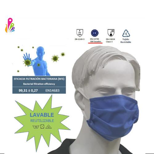 MASCARILLA higiénica quirúrgica, lavable y reutilizable. Pack 10